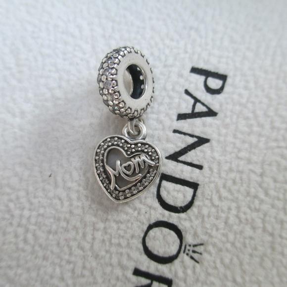 9e5d3e2a5c6 Pandora Mom center of my heart clear CZ charm. M_5bbac67f6a0bb7b1139202a9